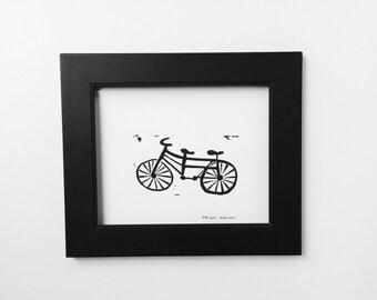 Bike Art Black Tandum Bike 8x10 Linocut art print