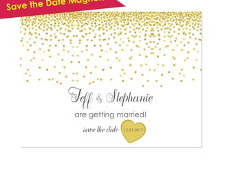 25 Save the Date Magnet- Wedding Save the Date Magnets- Save-the-Date Magnet- Wedding Announcement- Gold Wedding- Save the Date Card