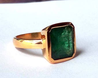 Natural Emerald Gemstone Ring- Square Emerald Ring- Rose Gold on 925 Sterling Silver Ring- May Birthstone Gift Ring- Christmas Gift Idea