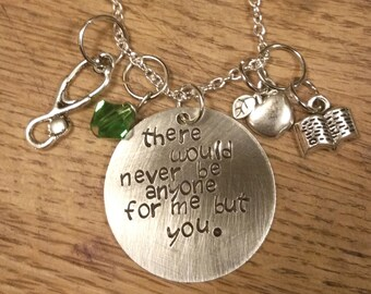 Anne of Green Gables-Anne and Gilbert hand stamped necklace-Anne Shirley and Gilbert Blythe