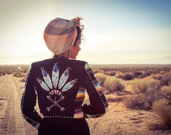 Silver Queen Concho Jacket - Vintage Southwestern Native Western Wear Moto Motorcycle - Limited Edition Handpainted
