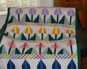 Tulips Handmade Twin Quilt