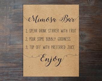 Printable Mimosa Bar Sign . Mimosa Bar Sign . Bridal Shower Mimosa Bar Sign . Instant Download Mimosa Bar Sign . Bubbly Bar Sign . Mimosa .