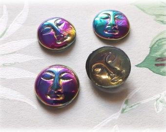 1Pc Vintage Vitrail AB Glass Moon Face cabochon 18mm, Moon face cabochon, Vitrail cabochon #C22