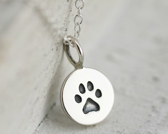 Paw Print Necklace - Sterling Silver Tiny Paw Print Necklace - Pet Remembrance Necklace - Pet Memorial Necklace Dog and Cat Lovers Necklace