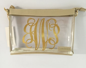 Stadium Approved Clear Purse, Cross Body Purse - Small, Clear Crossbody Bag, Clear Purse with Monogram, Purse for Stadium, Gold Clear Bag