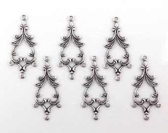 Antiqued Silver Connector, Chandelier Earring, Brass Connector, 4 Loop Connector, Brass Link, Brass Stamping, 15mm x 33mm - 6 pcs.( sl223)