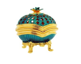 Aqua Blue Faberge Style Egg Trinket Box, Decorated Egg Collectable Ornament - 6cm