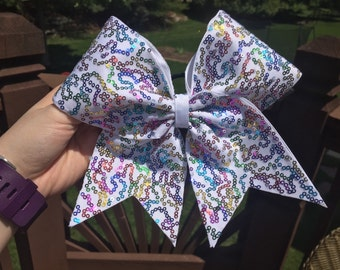 White with Multicolored Sequins Cheer Bow