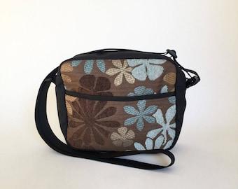 Blue & Brown Floral Chenille  Derby Bag, Cross Body Bag, Travel Bag