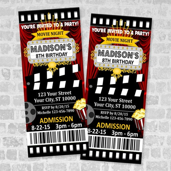 Well known Movie Ticket Birthday Party Invitation Custom Movie Night HQ14