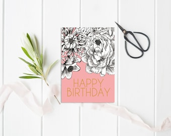 Floral Birthday Card, Illustrated birthday card, Illustrated Greeting Card, Stationery, Handmade card, Birthday, Illustrated card