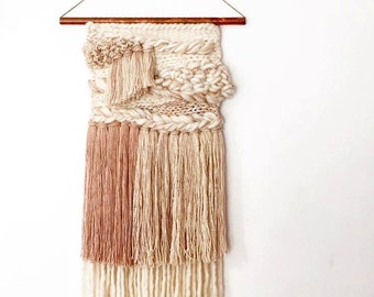 """TEMPORARILY UNAVAILABLE 12"""" x 28"""" Handwoven Wall Hanging / Tapestry Weaving (""""Honey White"""")"""
