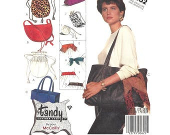 McCalls 3362 Sewing Pattern Tandy Leather Co Accessory Package Bag Tote Belt Change Purse Eyeglass Case Real or Faux Leather & Suede Uncut