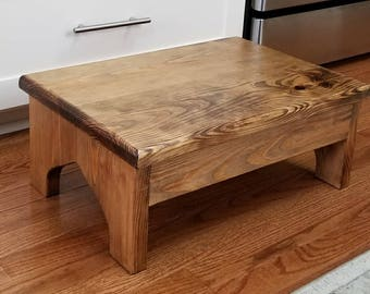 Large Wood Step Stool, The Surrey, 20x14x8, Foot Stool, Very Sturdy, Kitchen Stool, Bed Stool, Bath Stool, Spa Steps, Rustic Wooden Stool