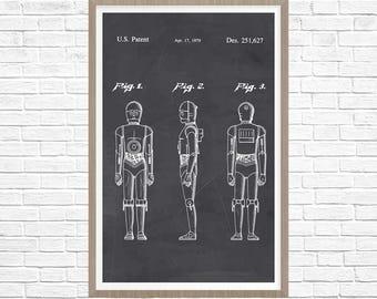 Star Wars Poster, C3PO Star Wars Patent Print - Star Wars Poster - C3PO Patent Poster - C3PO Art - Sci Fi Poster - Star Wars C-3PO Print