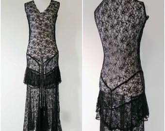 Vintage 1920's/1930's sheer black French knicker emulating lace gown