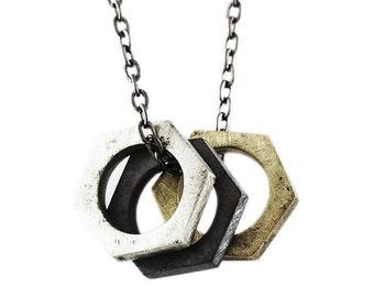 Antique Bolt Necklace Man Jewelry Unique Metals Silver Black Gold