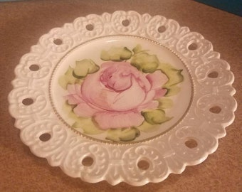 Off white tray trimmed  on gold with pink roses small tray
