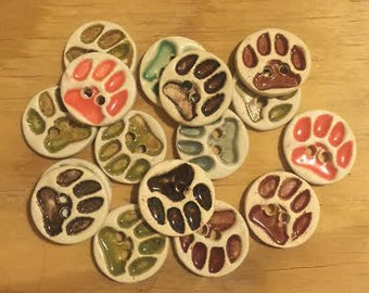 FREE SHIPPING Set of 14 Handmade Ceramic Buttons - Paws