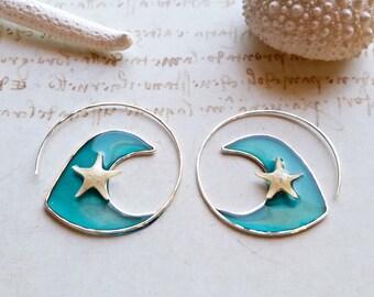 Wave Hoop Earrings, Real Starfish Hoops, Resin Hoop Earrings, Hawaiian Hoop Earrings, Gold Wave Earrings