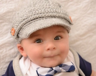 Grey Newborn baby hat ,Crochet newsboy hat , crochet baby boy hat, crochet girl hat, newborn baby hat, crochet baby hat