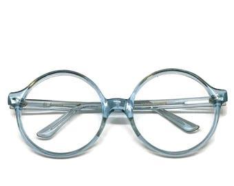 Große Runde Brillengestelle | Runde blaue Rahmen | Vintage Brille | 70er Jahre Brille