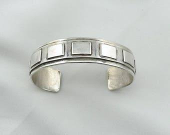 Heavy Solid Sterling Silver Watch Cuff Bracelet Bullseye Hallmark #HEAVY-CF8