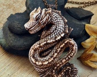 Dragon pendant Animal Polymer clay jewelry Dragon necklace Ivory dragon Large pendant Jewelry Dragon jewelry Fairytale gift Inspirational