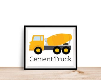 Cement Truck Construction Print - Printable Wall Art, 8x10 Kids Print, 8x10 Nursery Print, Printable Home Decor, Instant Download,Kids Decor