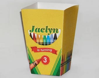 Crayola Crayon Birthday Personalized Popcorn favor Boxes - Printable