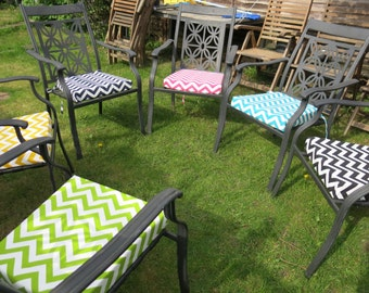 Garden Chair/Dining Chair Cushion Made To Order Premier Prints Chevron Zig  Zag Fabric