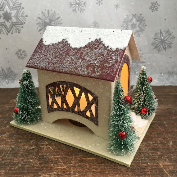 winter fairy garden miniature christmas village bridge - Miniature Christmas Town Decorations