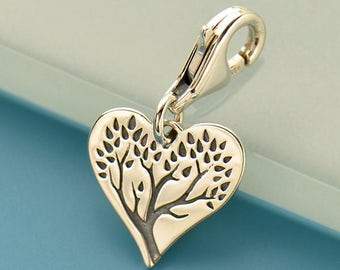 Sterling Silver, Etched Tree, Tree of Life, Heart Charm, Charm with Clasp, Heart with Clasp, Etched Tree of Life, Silver Tree Charm