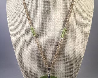 Green Cats Eye Chain Necklace, Chain Necklace, Cats Eye pendant, Pendant Necklace