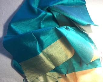 Aqua silk scarf gold silk scarf pure silk scarf turquoise silk scarf 100% pure silk scarf silk head scarf aqua silk shawl handwoven scarf