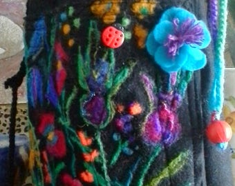 RESERVED/ black felt medium size pouch with felted flowers/ drawstring pouch flowered /gift for her/ mother's day gift