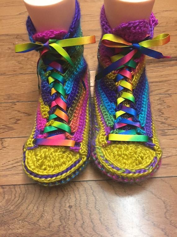 8 converse converse Crocheted converse slippers slippers shoe top top high high List slippers sneaker 10 rainbow tennis 206 Womens crocheted wqYwaBz