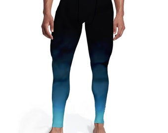 Men's Black Aqua Ombre Tights, Men leggings, Tights for him