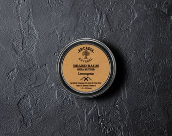 Natural Beard Balm, Men's skin care, Beard Moisturizer, Bear Conditioner, Beard styling, Handmade lemongrass beard balm