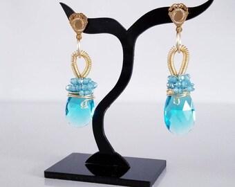 Blue Earrings / MOTHER GIFT / Dainty Earrings / Teardrop Earrings / Dainty Earring / Mother day Jewelry / Gold Earrings / Gift For Women