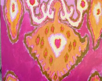 Orange and Pink Ikat  print