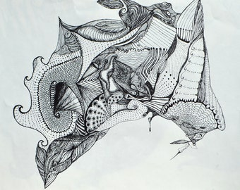 """Black Ink - Drawing - 11"""" X 14"""" - Butterfly Dreams - Not Framed"""