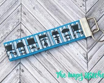 Elegant Mustache Stripes Keychain / Key Chain / Key Fob