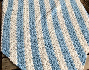 no. 15 Crocheted lap afghan in lite blues and white