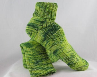 Green Alpaca Wool Socks Women's Knit Socks