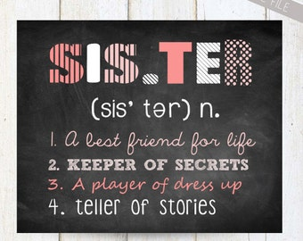 Personalized Sister Wall Art - Sister wall decor - INSTANT DOWNLOAD Baby shower gift - pink white grey 8x10