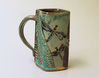 Dragonfly Pottery Coffee Mug, Hand Made Microwave and Dishwasher safe