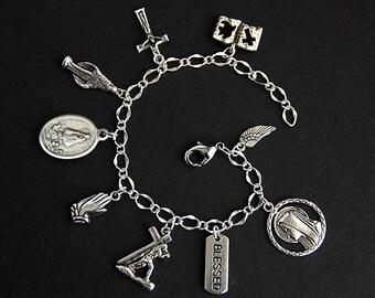 Saint Caridad del Cobre Charm Bracelet. St Caridad del Cobre Bracelet. Catholic Bracelet. Patron Saint Bracelet. Saint Medal Bracelet.