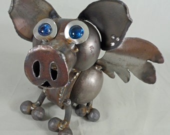 Flying Pig - Recycled steel sculpture